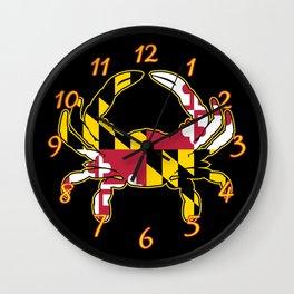 Maryland Flag Crab Wall Clock