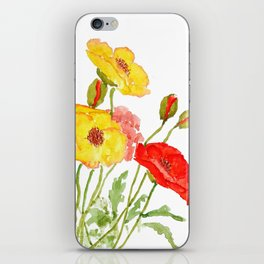 red and yellow  poppies iPhone Skin