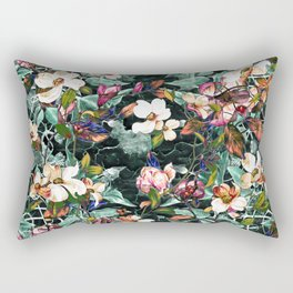Dogwood and Magnolia II (Teal) Pattern Rectangular Pillow