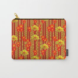 Red Oriental Style Poppies & Daffodils Pattern Carry-All Pouch