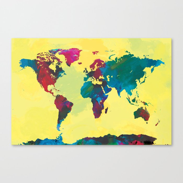 Watercolor world map canvas print by champagne society6 watercolor world map canvas print gumiabroncs Gallery