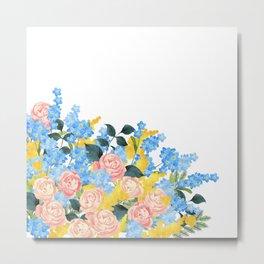 Watercolor roses and flowers Metal Print