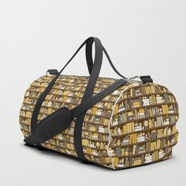 Book Case Pattern - Yellow Grey Duffle Bag