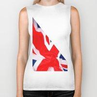 british flag Biker Tanks featuring Im British by Stitched up designs