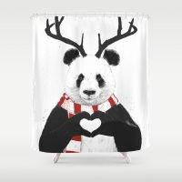 xmas Shower Curtains featuring Xmas panda by Balazs Solti