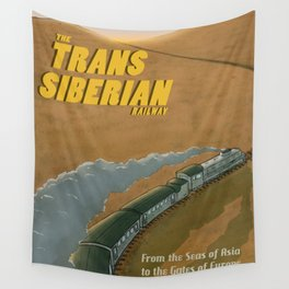 The Transsiberian Railway Travel Poster Wall Tapestry