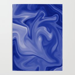 Marble Blues White Poster