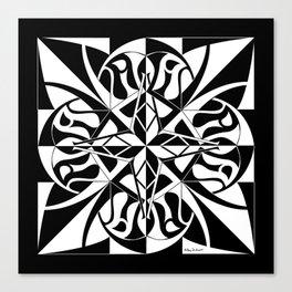 Think Mandala - Black White Canvas Print