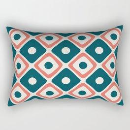 Mid Century Modern Diamond Dot Pattern 774 Beige Orange and Teal Rectangular Pillow