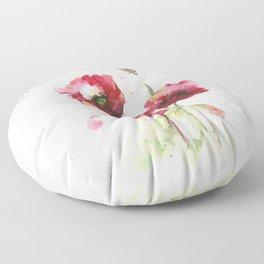 Watercolor flowers of poppy Floor Pillow