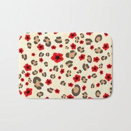 Romantic Leopard Print Pattern with Red Flowers Bath Mat
