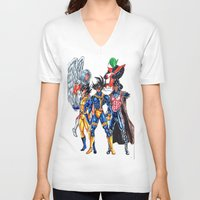 xmen V-neck T-shirts featuring Z fighters crossover xmen by Unic art