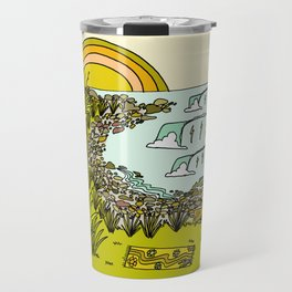 point breaks in paradise // retro surf art by surfy birdy Travel Mug