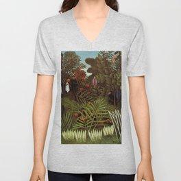 """Henri Rousseau """"Exotic landscape"""", 1908 Unisex V-Neck"""