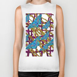 BLUE MOTHS ON ABSTRACT PURPLE THORN BRANCHES Biker Tank