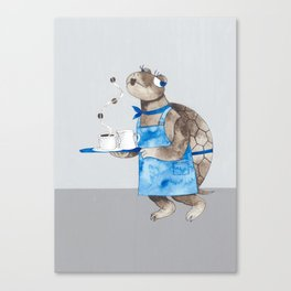 Turtle waitress coffee time Canvas Print