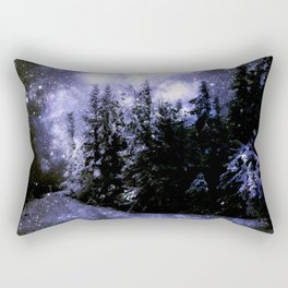 Galaxy Winter Forest Periwinkle Gray Rectangular Pillow