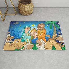 Sweet scene of the nativity of baby Jesus Rug