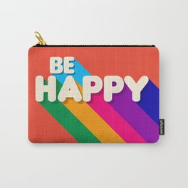 BE HAPPY - rainbow retro typography Carry-All Pouch