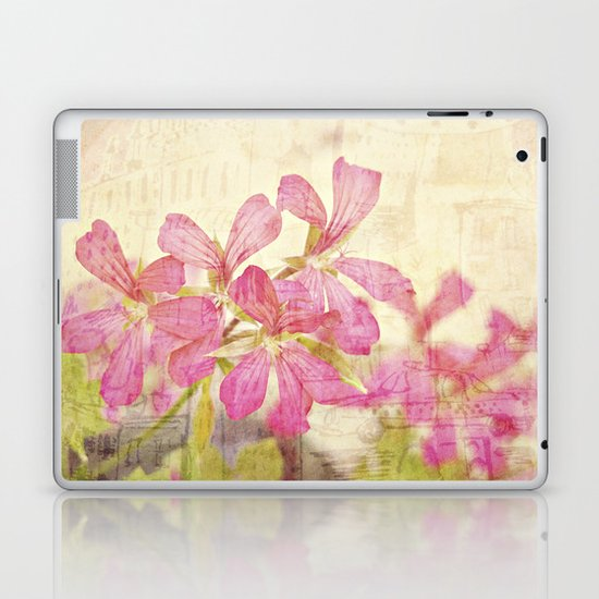 Vintage Whimsical Watermelon Pink Summer Geraniums in the City Montage Collage _  très chic Laptop & iPad Skin