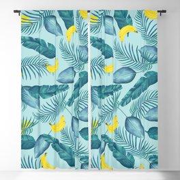 Tropical Banana Pattern - Tropical Fruit Print Blackout Curtain