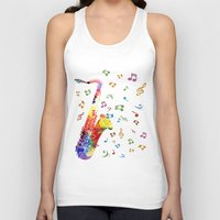saxophone Tank Tops featuring Saxophone by Miss L in Art