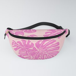 Pink Monstera Linoprint Fanny Pack