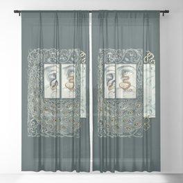 Snake Eyes :: Fine Art Collage Sheer Curtain