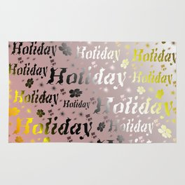 shiny font happy holidays in rose gold Rug