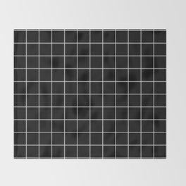 Grid Line Stripe Black and White Minimalist Geometric Throw Blanket