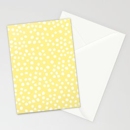 Pastel yellow and white doodle dots Stationery Cards