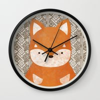 shiba inu Wall Clocks featuring Cute Shiba Inu by Goodnight Silver