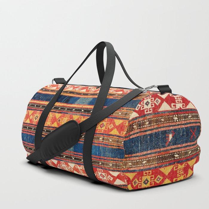 Shahsavan Moghan Caucasian Striped Rug Print Duffle Bag