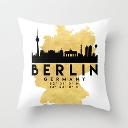 BERLIN GERMANY SILHOUETTE SKYLINE MAP ART Throw Pillow