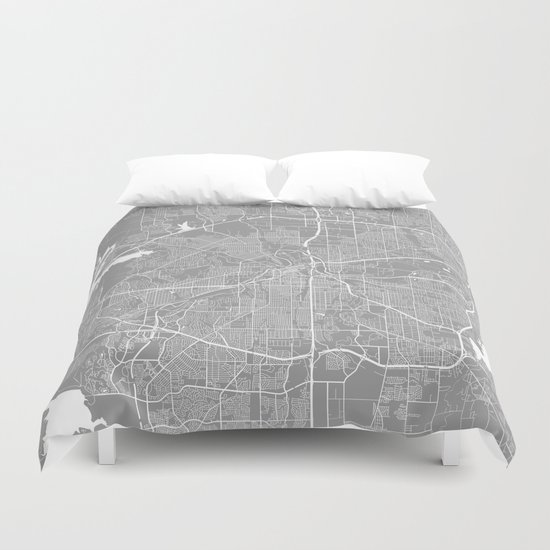 Fort Worth map grey Duvet Cover