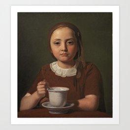 Constantin Hansen - En lille pige, Elise Købke, med en kop foran sig (1850) Art Print