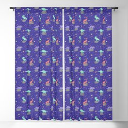 Dinosaurs Floating on Asteroids - Purple Blackout Curtain