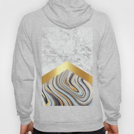 Arrows - White Marble, Gold & Blue Marble #610 Hoody