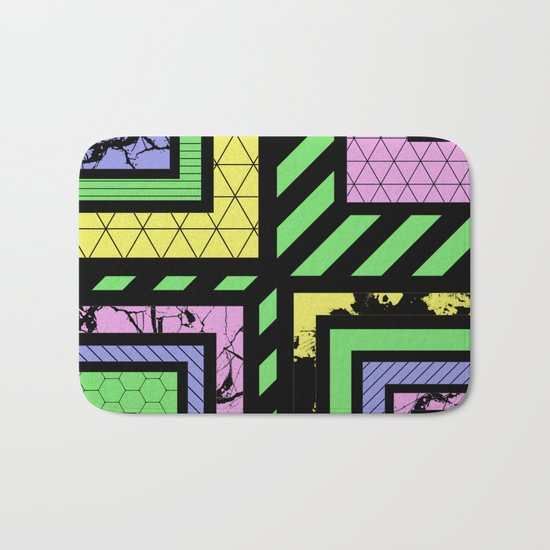 Pastel Corners (Abstract, geometric, textured designs) Bath Mat
