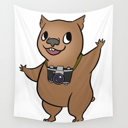 Wombat with 35mm SLR Wall Tapestry