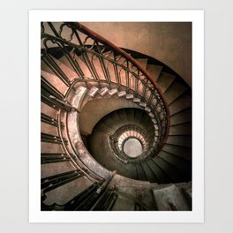 Spiral brown staircase Art Print