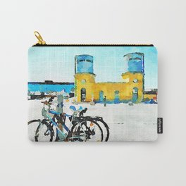 Pescara: bicycles with old and new station buildings Carry-All Pouch