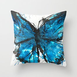 Blue butterfly ink splatter Throw Pillow