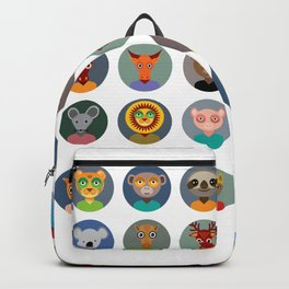 Set of animals faces circle icons set in Trendy Flat Style. zoo Backpack