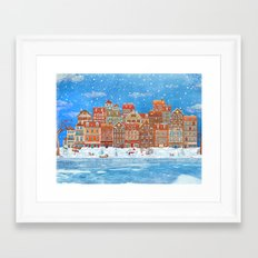 Merry  Christmas and New Year holidays card with  fairy town and  frozen river  in winter Framed Art Print
