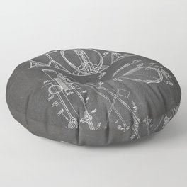 Drum Set Patent - Drummer Art - Black Chalkboard Floor Pillow