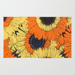 Abstracted Orange Yellow Deco Sunflowers Rug