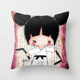 Martial Arts Girl Throw Pillow