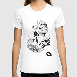 Deadly Hand - Bat man, Harley Quinn and Joker (black and white) T-shirt