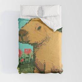 pixel cute capybara Comforters